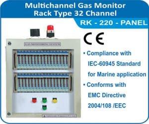 Multichannel Gas Monitor RK-220 , 32 channel Rack type panel