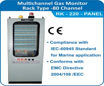 Multichannel Gas Monitor RK-220 , 80 channel Rack type panel