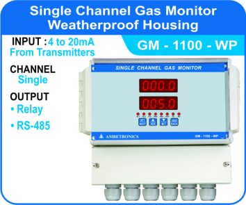 Single Channel Gas Monitor GM-1100 with Weatherproof enclosure.
