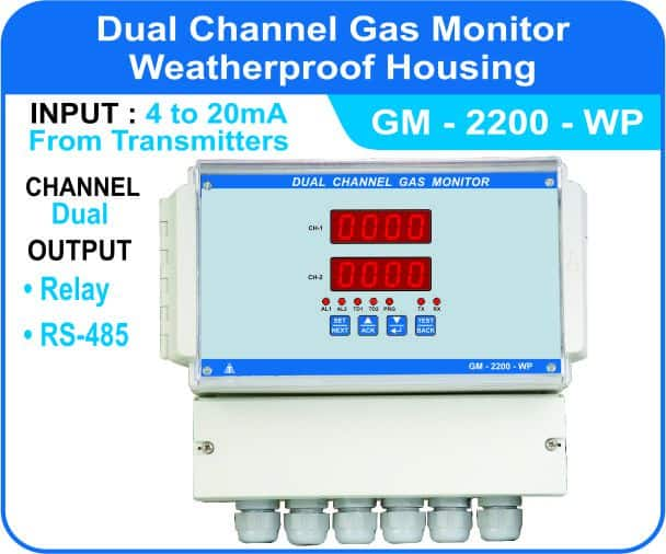 Dual Channel Gas Monitor GM-2200 with weatherproof enclosure