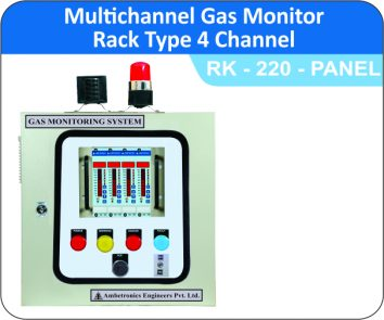 Multichannel gas monitor rack type RK-220-4CH.Panel