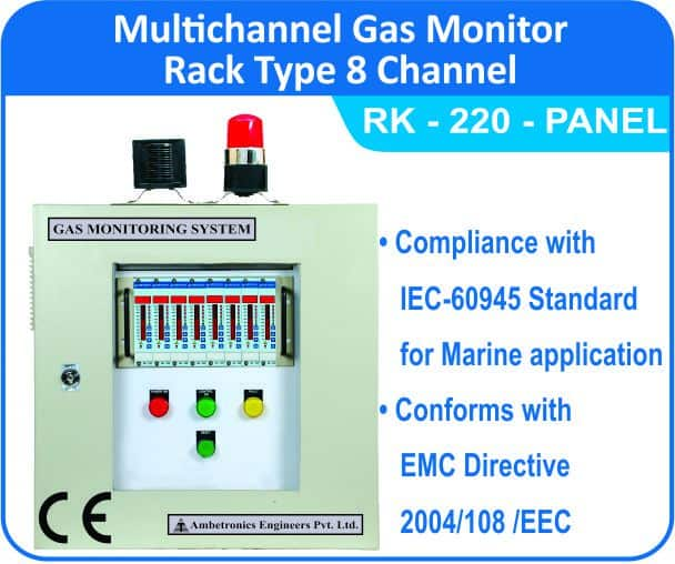 Multichannel Gas Monitor RK-220 8 Channel Rack type Panel