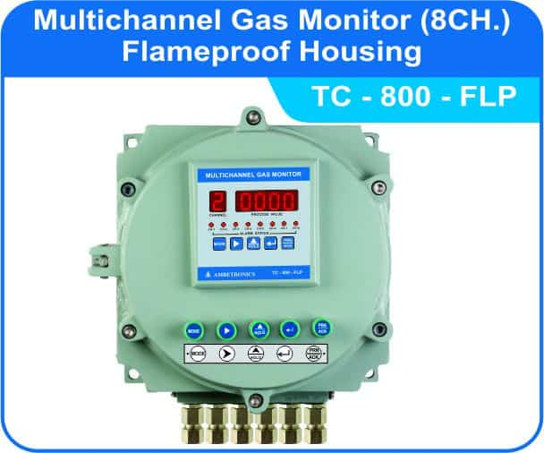 Multichannel Gas Monitor TC-800 with Panel flameproof enclosure.