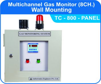 Multichannel Gas Monitor TC-800 with Panel mounted enclosure.