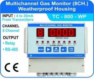 Multichannel Gas Monitor TC-800 with Panel weatherproof enclosure.