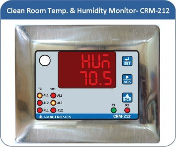 Clean Room Temperature & Humidity Monitor- CRM-212 with inbuilt TRH sensor