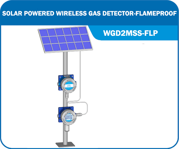 Solar Powered Wireless Gas Detector WGD2MSS-FLP