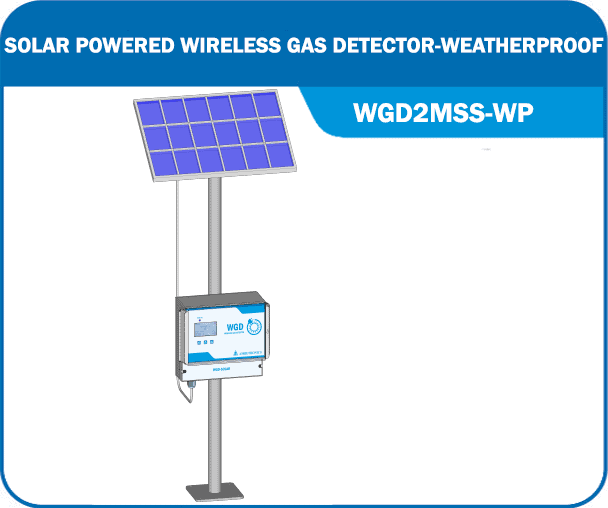 Solar Powered Wireless Gas Detector WGD2MSS-WP
