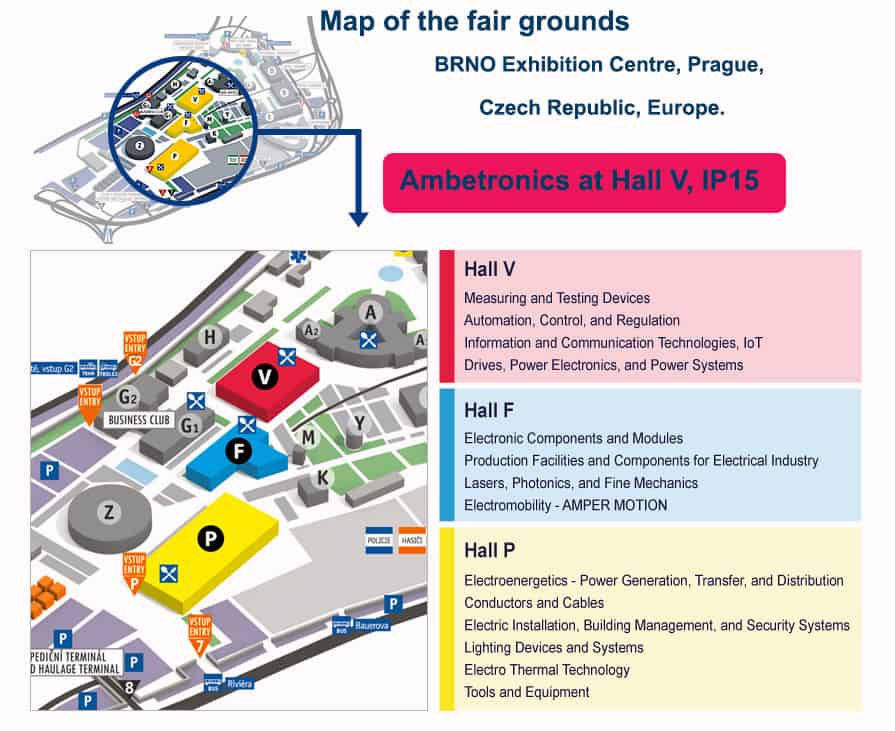 Map of BRNO Exhibition Centre Grounds.