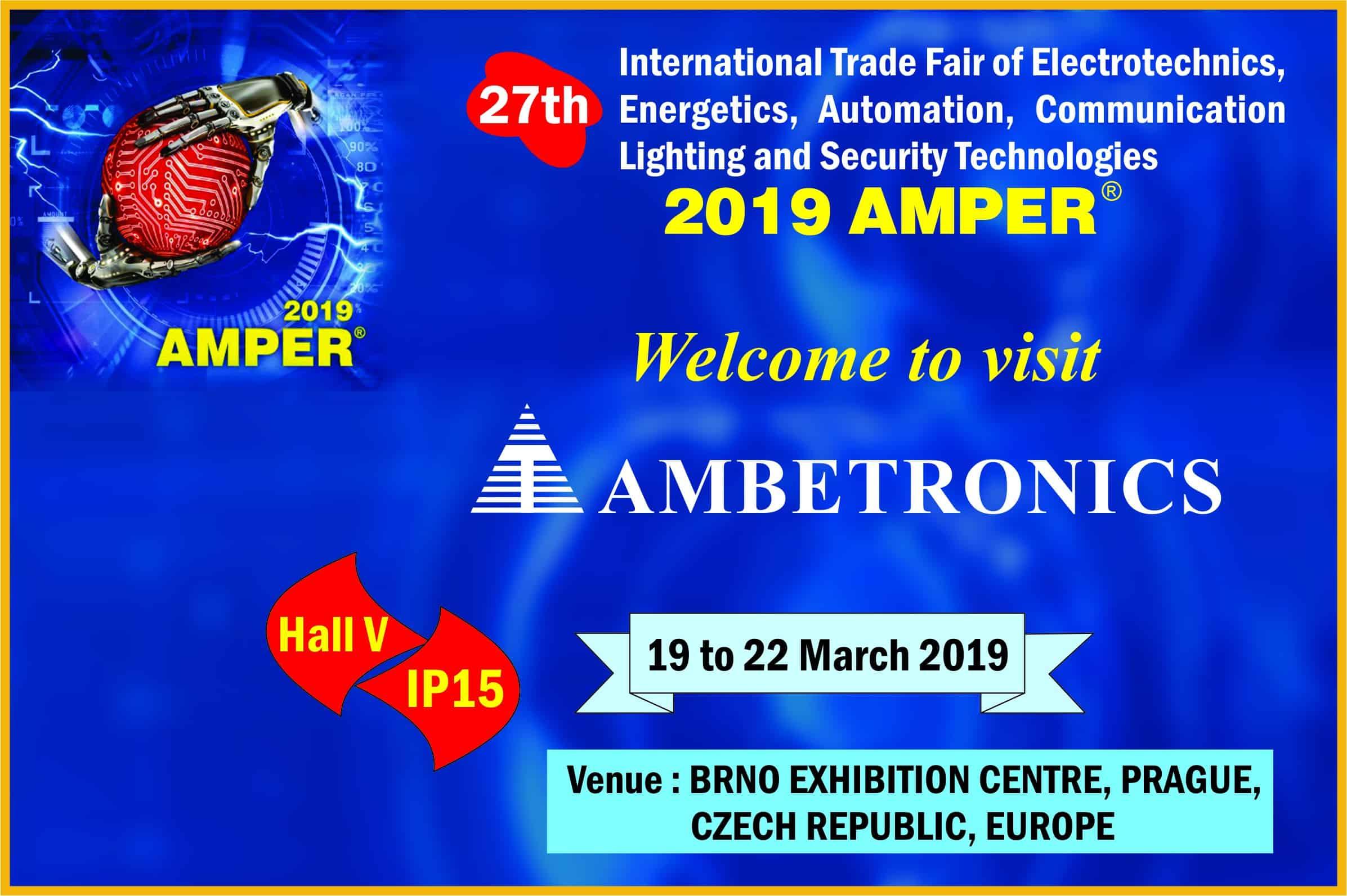 Invitation for 2019 AMPER Exhibition, at Prague, Czech, Europe