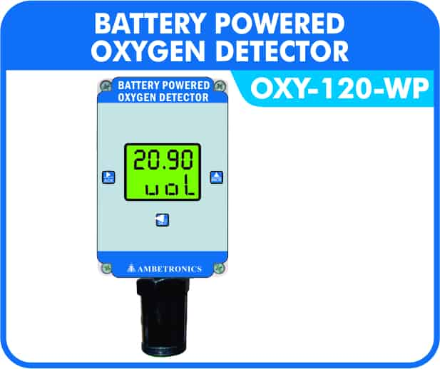 Battery Powered Oxygen Detector with weatherproof enclosure