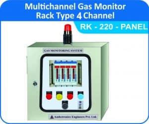 Multi channel Gas Monitor - RK-220-4CH. Rack Panel